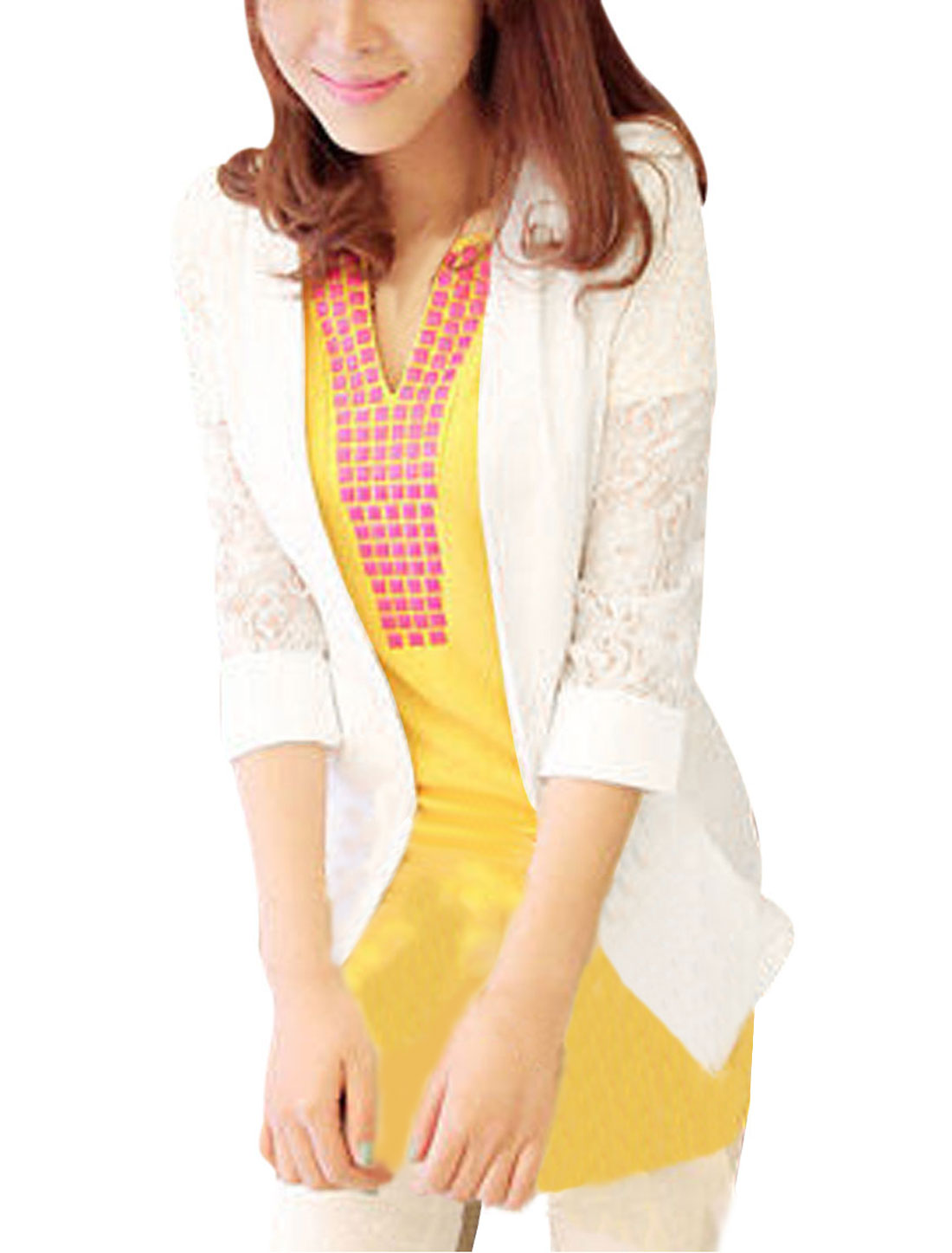 Ladies Button Closure Mock Pockets Panel Sleeve Casual Blazer White XS