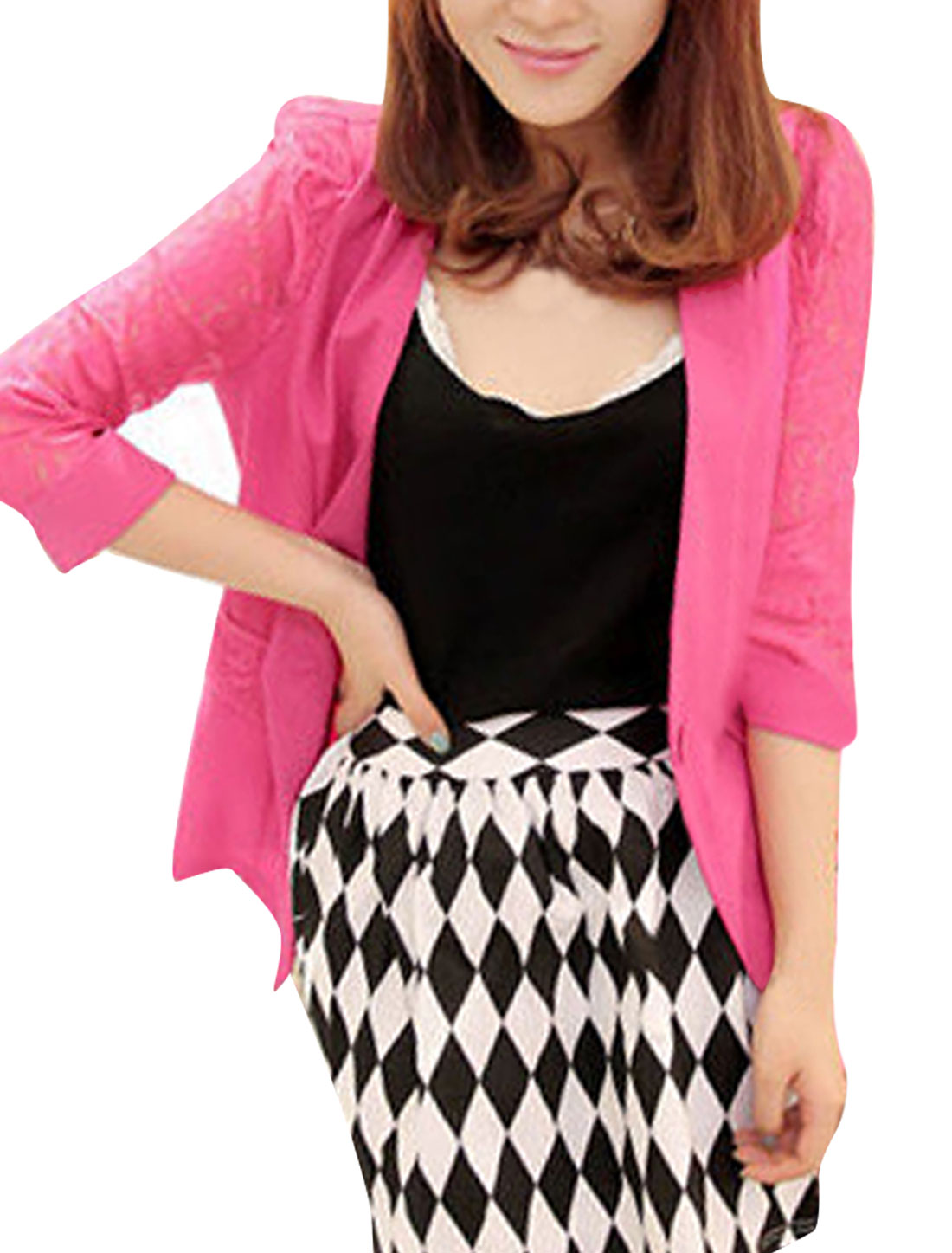Ladies Button Closure 3/4 Sleeves Lace Panel Blazer Pink XS