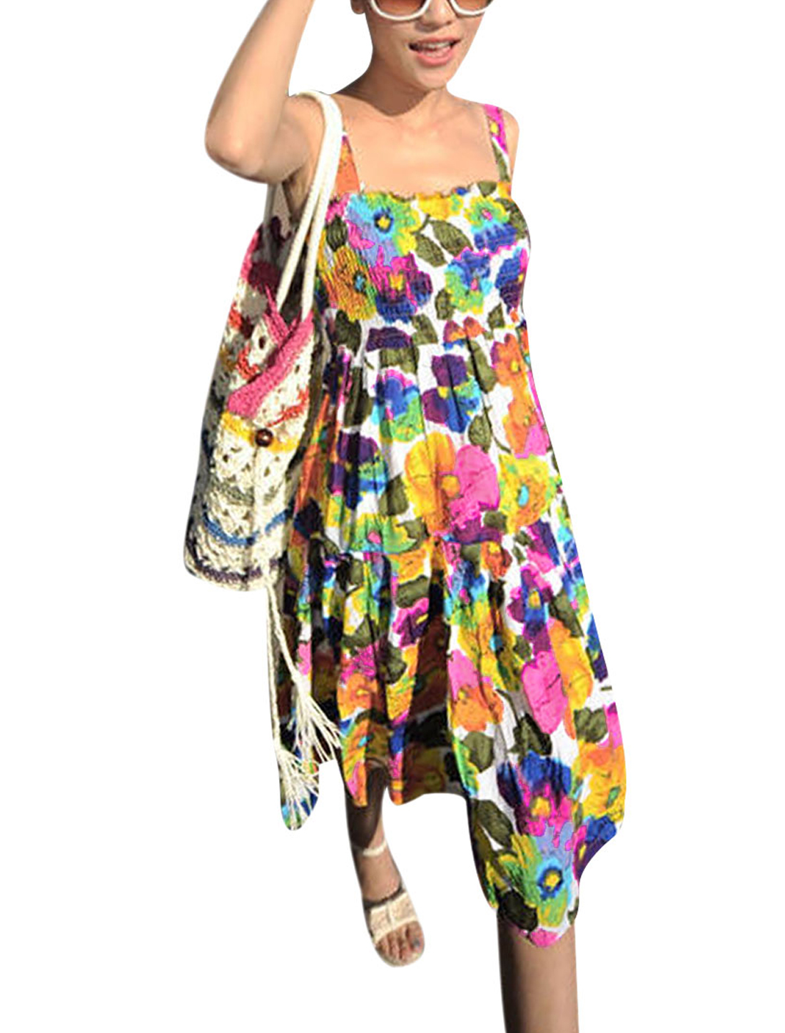 Ladies Multicolor Removable Shoulder Straps Floral Prints Tank Dress XS