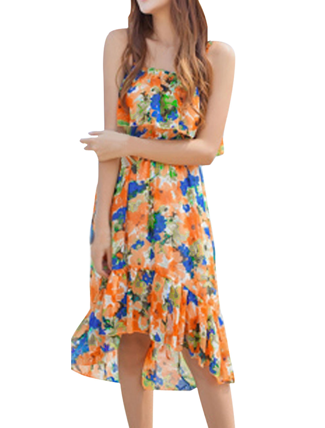 Women Chic Adjustable Spaghetti Straps Floral Prints Royalblue Orange Dress XS