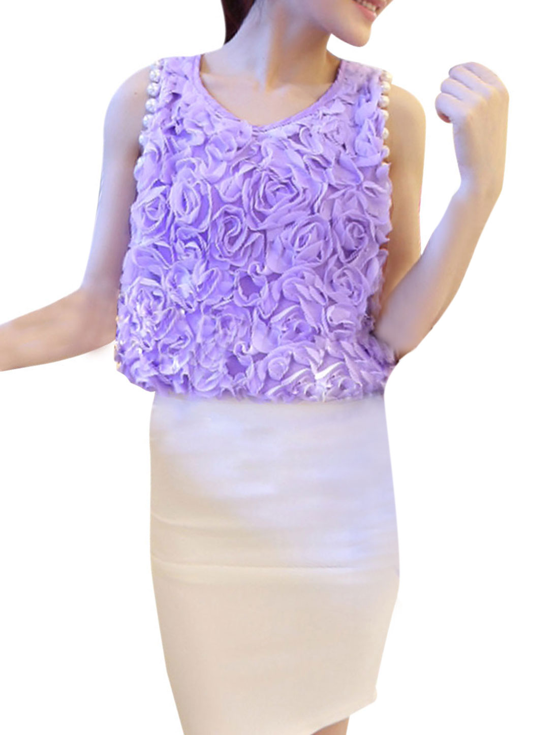 Ladies Light Purple Sleeveless Plastic Pearl Decor Summer Tank Tops XS