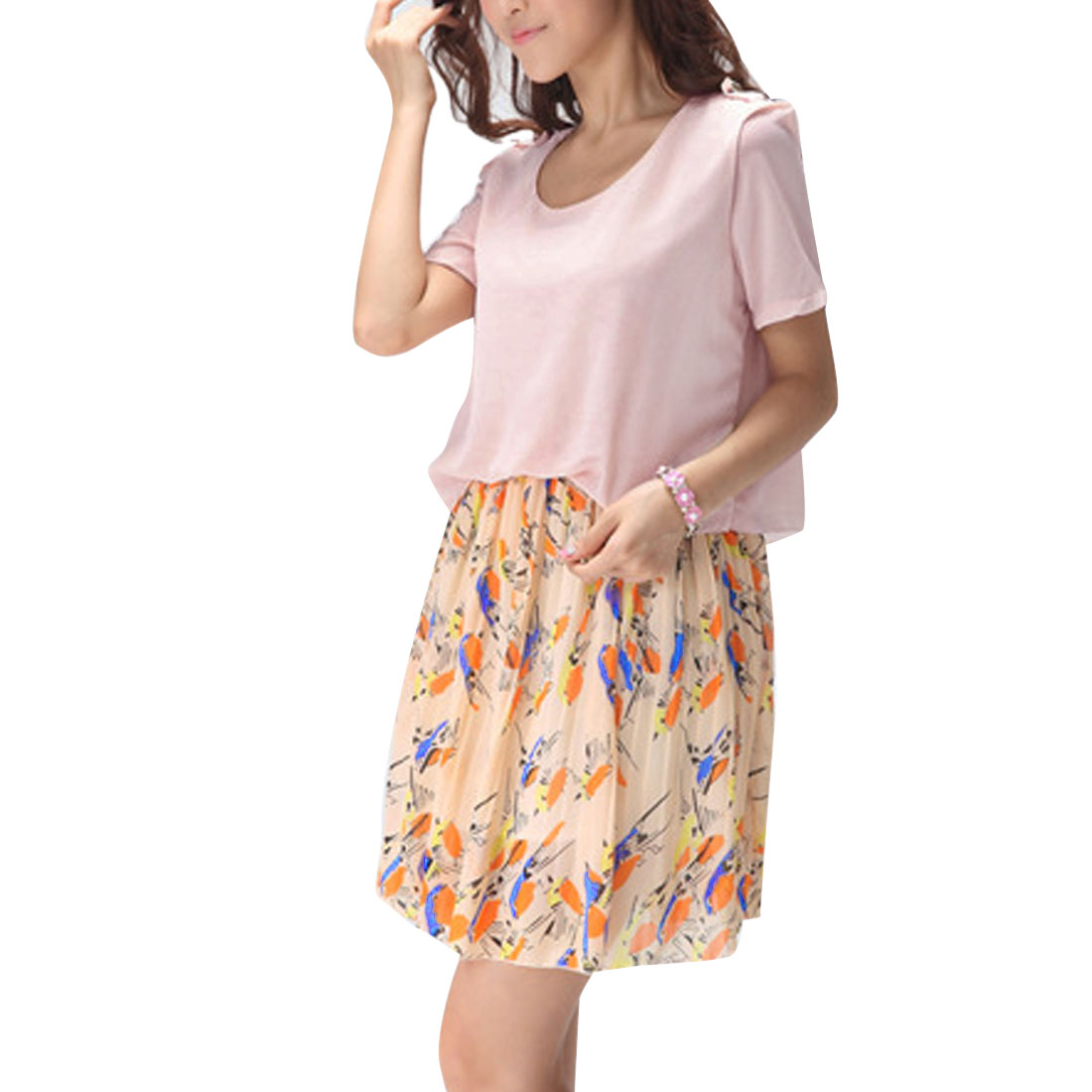 Lady Short Sleeve Semi-sheer Birds Pattern Lavender Pleated Dress XS