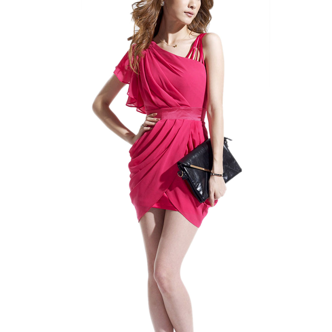 Ladies Concealed Side Zipper Patchwork One Shoulder Dress Fuchsia XS