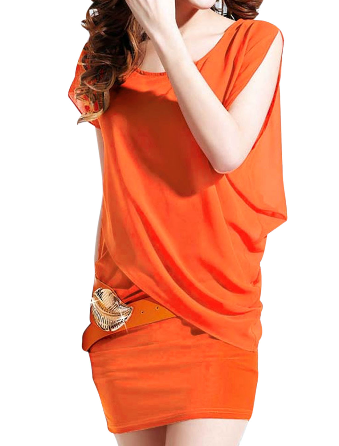 Ladies Orange Dolman Sleeves Casual Scoop Neck Summer Stylish Dress XS