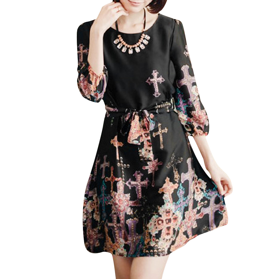 Lady Pullover Design Jewel Cross Prints Loose Black Above Knee Dress S