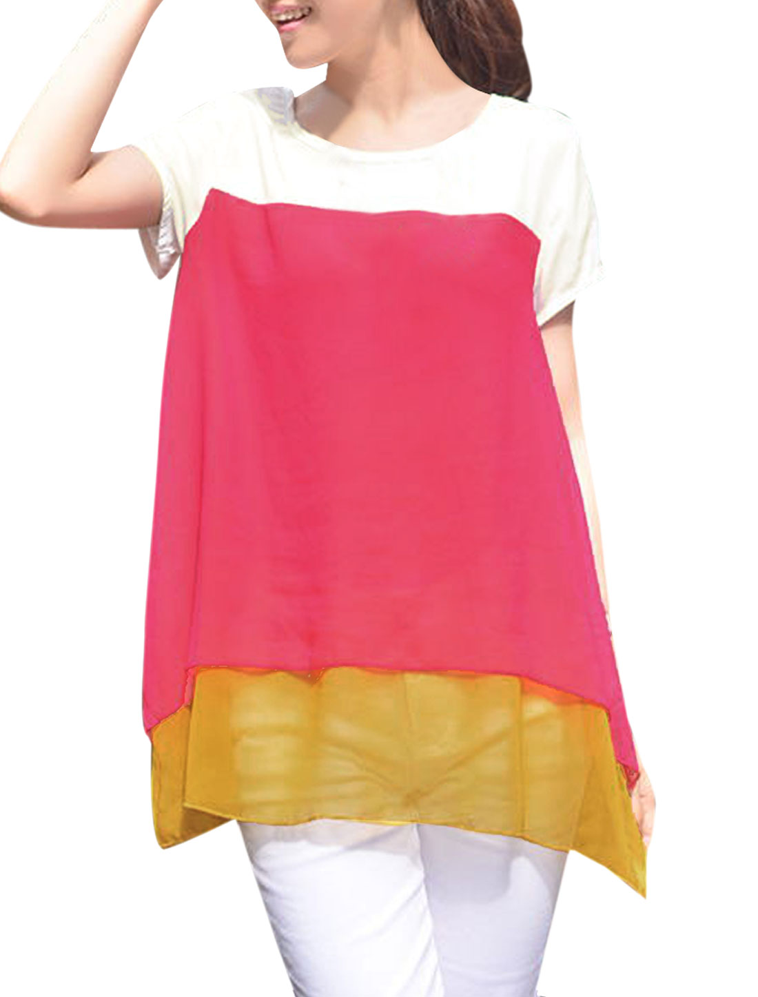 Ladies Fuchsia Scoop Neck Contrast Color Summer Tunic Tee S
