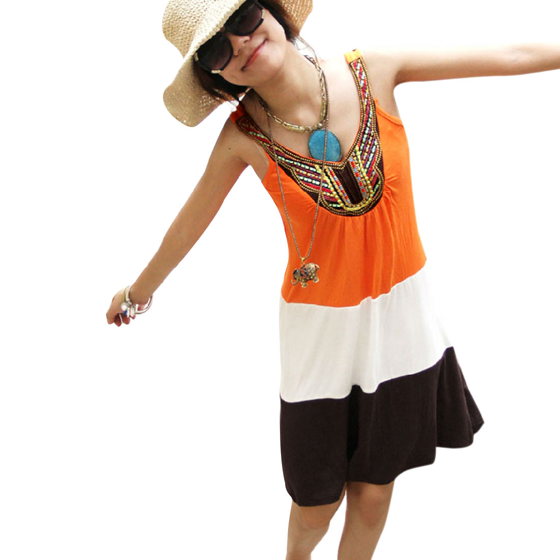 Ladies Orange White Embroidery Detail Contrast Color Summer Tank Dress XS