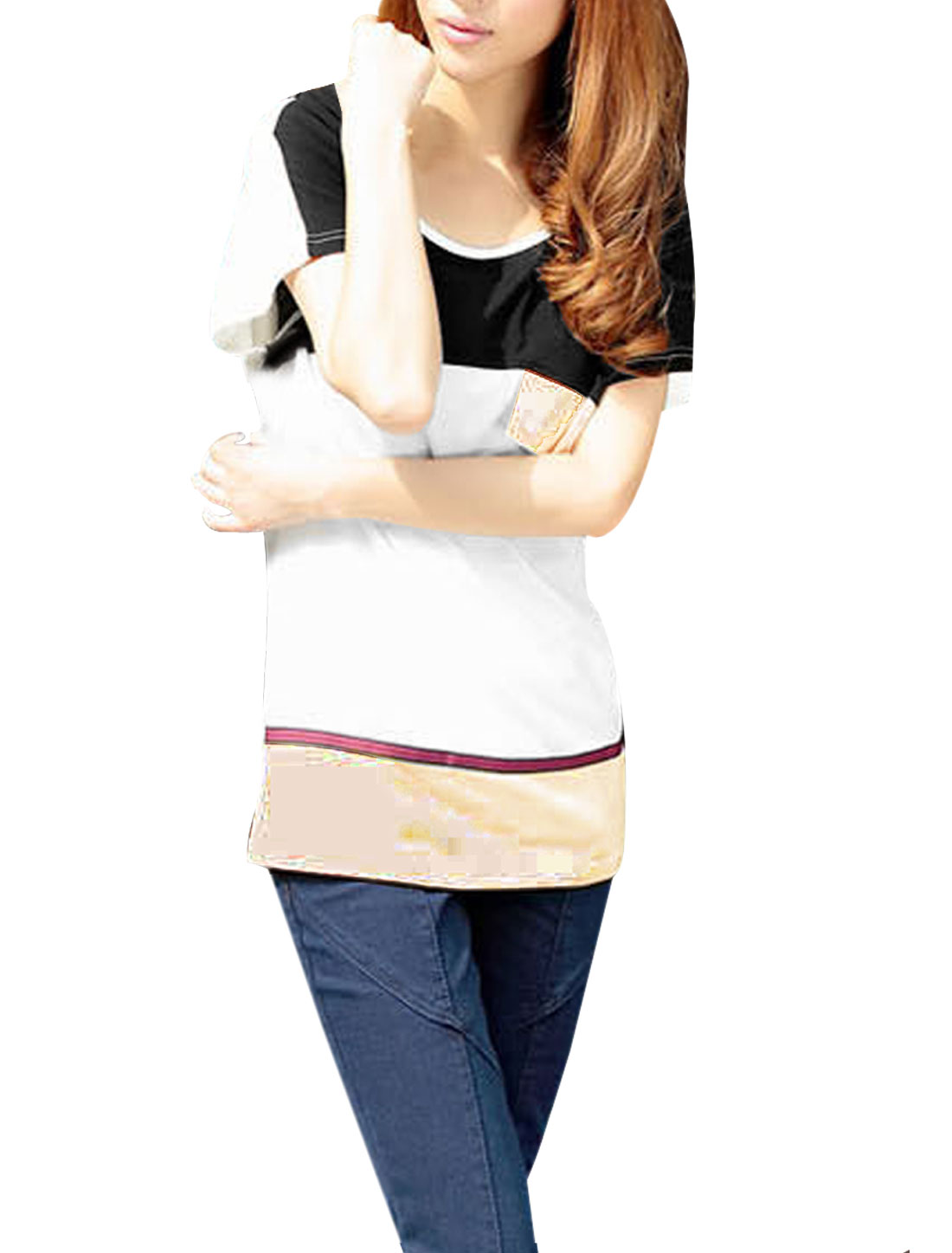 Ladies White Scoop Neck Mock Pocket Upper Casual Panel Tee Shirt S