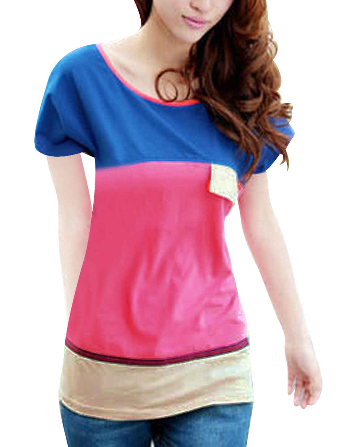Ladies Fuchsia Batwing Short Sleeves Patchwork Pullover Tee Shirt S