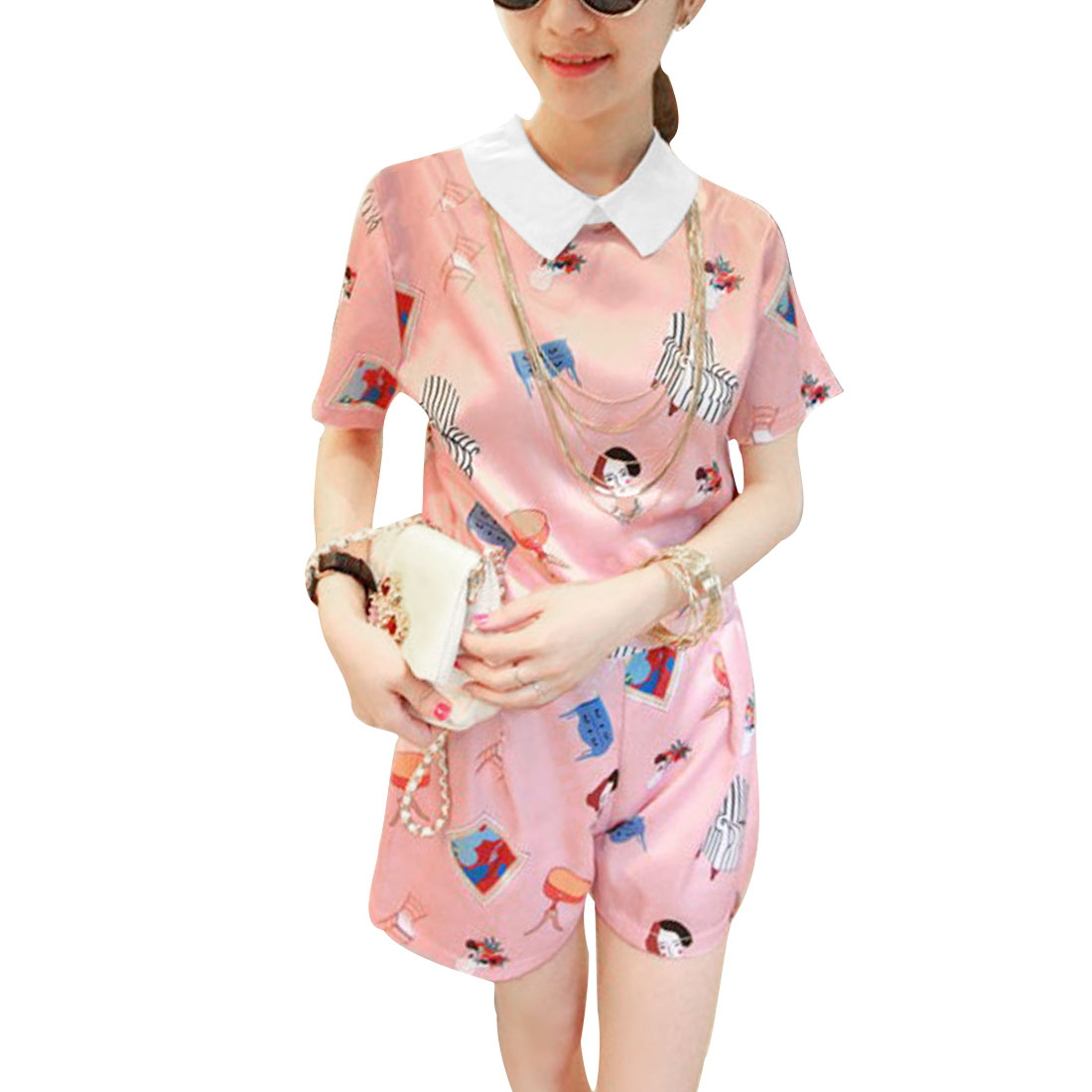 Lady Short Sleeve Cartoon Pattern Top w Loose Elastic Shorts Pink XS