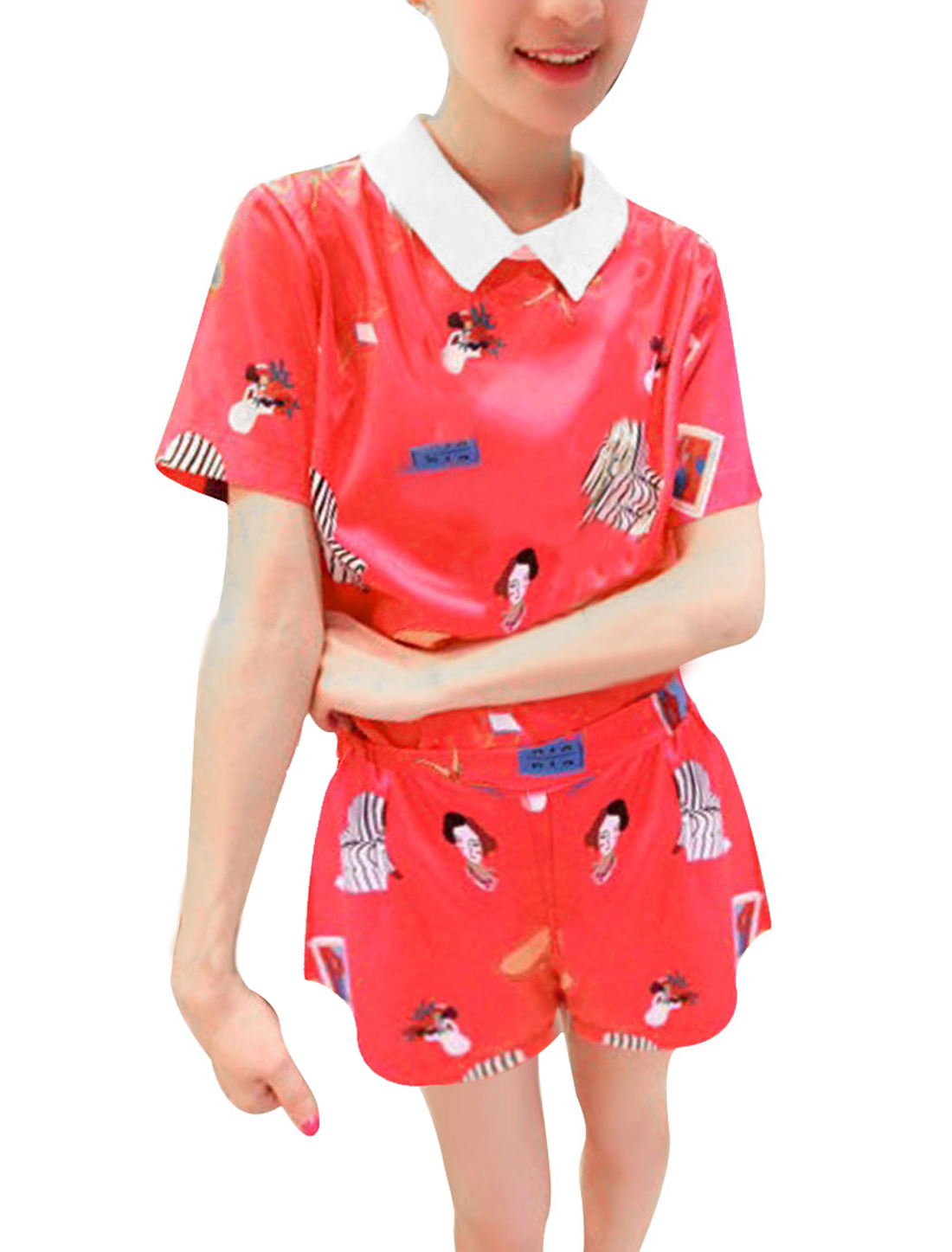 Lady Short Sleeve Zipped Cartoon Prints Blouse w Elastic Red Shorts XS