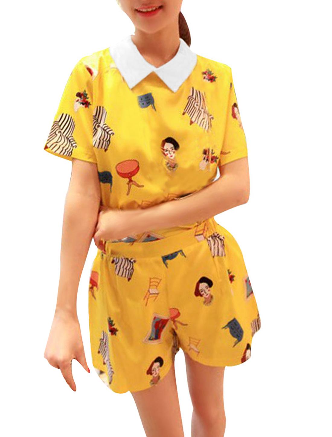 Lady Pullover Doll Collar Cartoon Prints Blouse w Natural Waist Shorts Yellow XS
