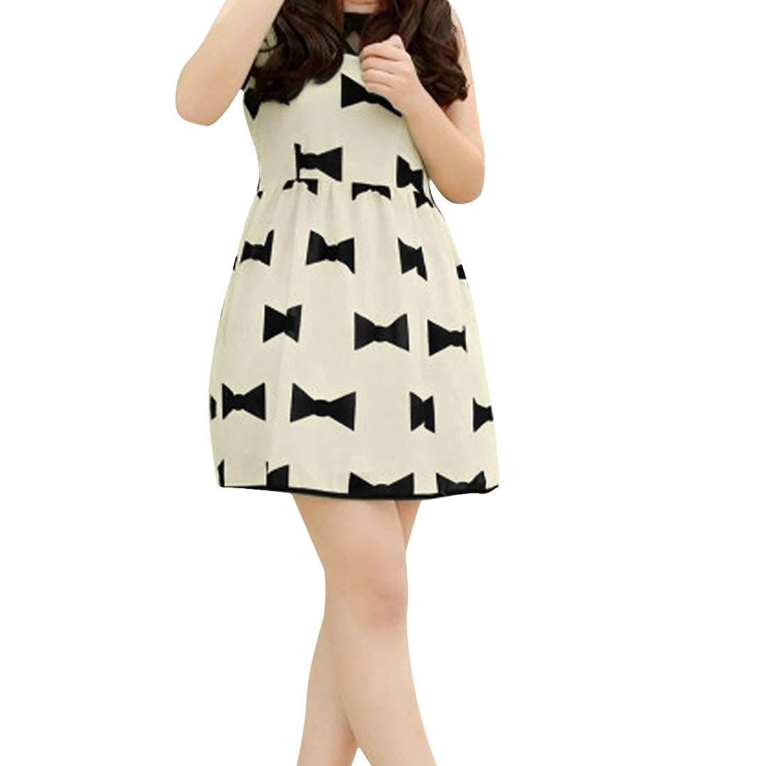 Ladies Chic Round Neck Sleeveless Mesh Splice Bowtie Prints Beige Mini Dress XS