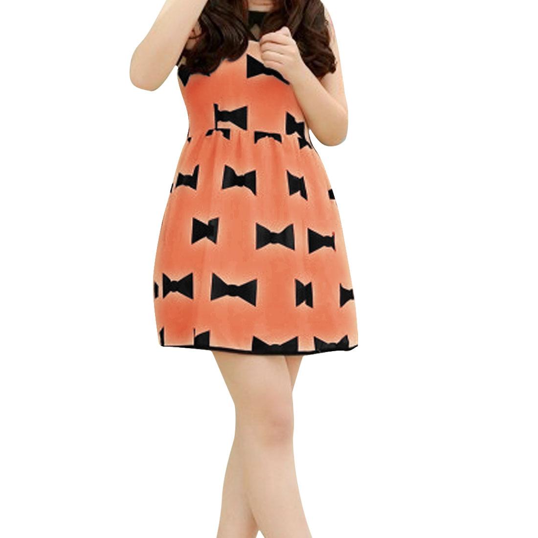 Women New Style Round Neck Mesh Splice Top Bowtie Pattern Apricot Mini Dress XS