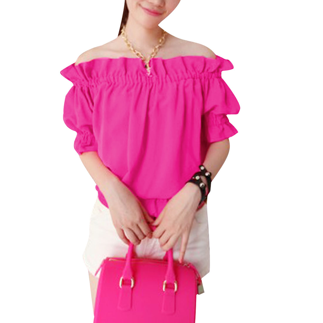 Lady New Fashion Off-Shoulder Design Solid Color Fuchsia Ruffled Tops S