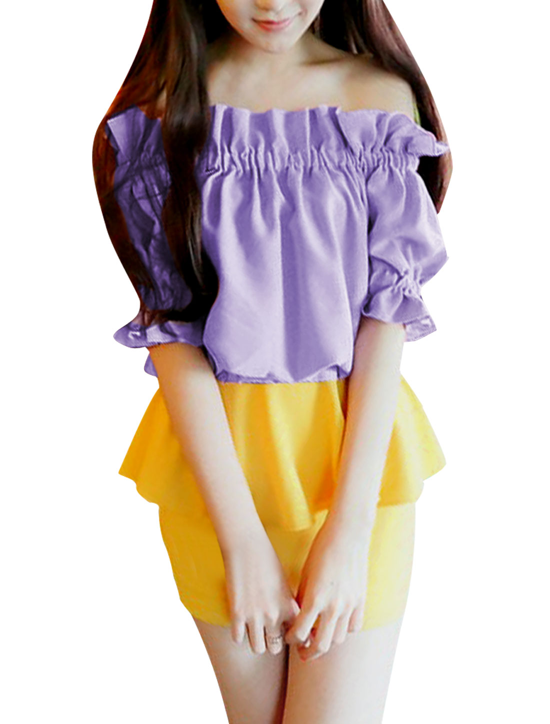 New Fashion Pure Lavender Off-Shoulder Design Ruffled Blouse S for Lady