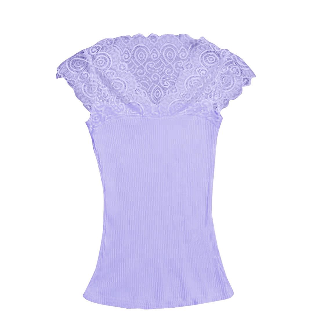 Lady Cap Sleeve Pullover Ribing Elastic Light Violet Blouse XS