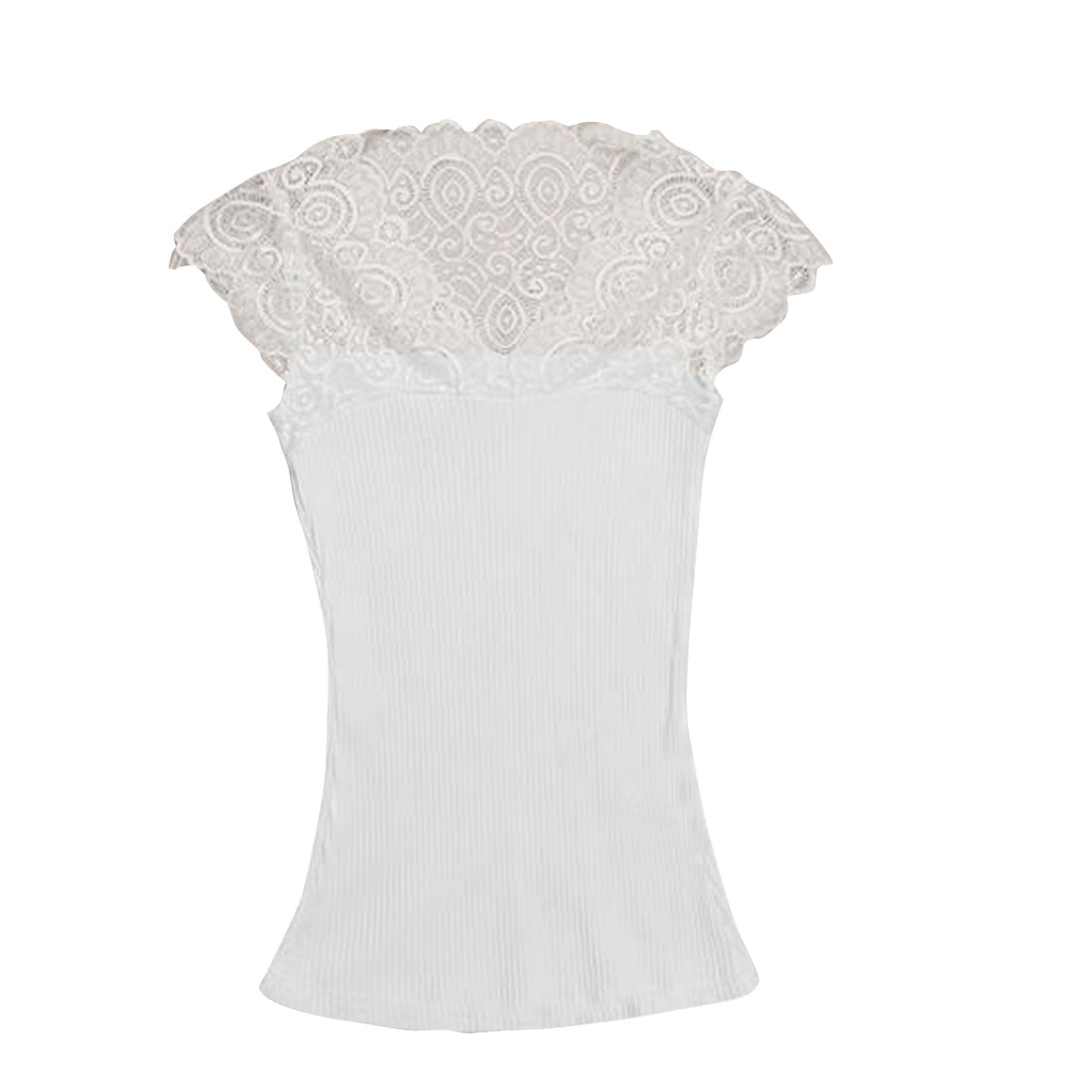 Lady Lace Detail Decor Cap Sleeve Ribing Fitted White Blouse XS