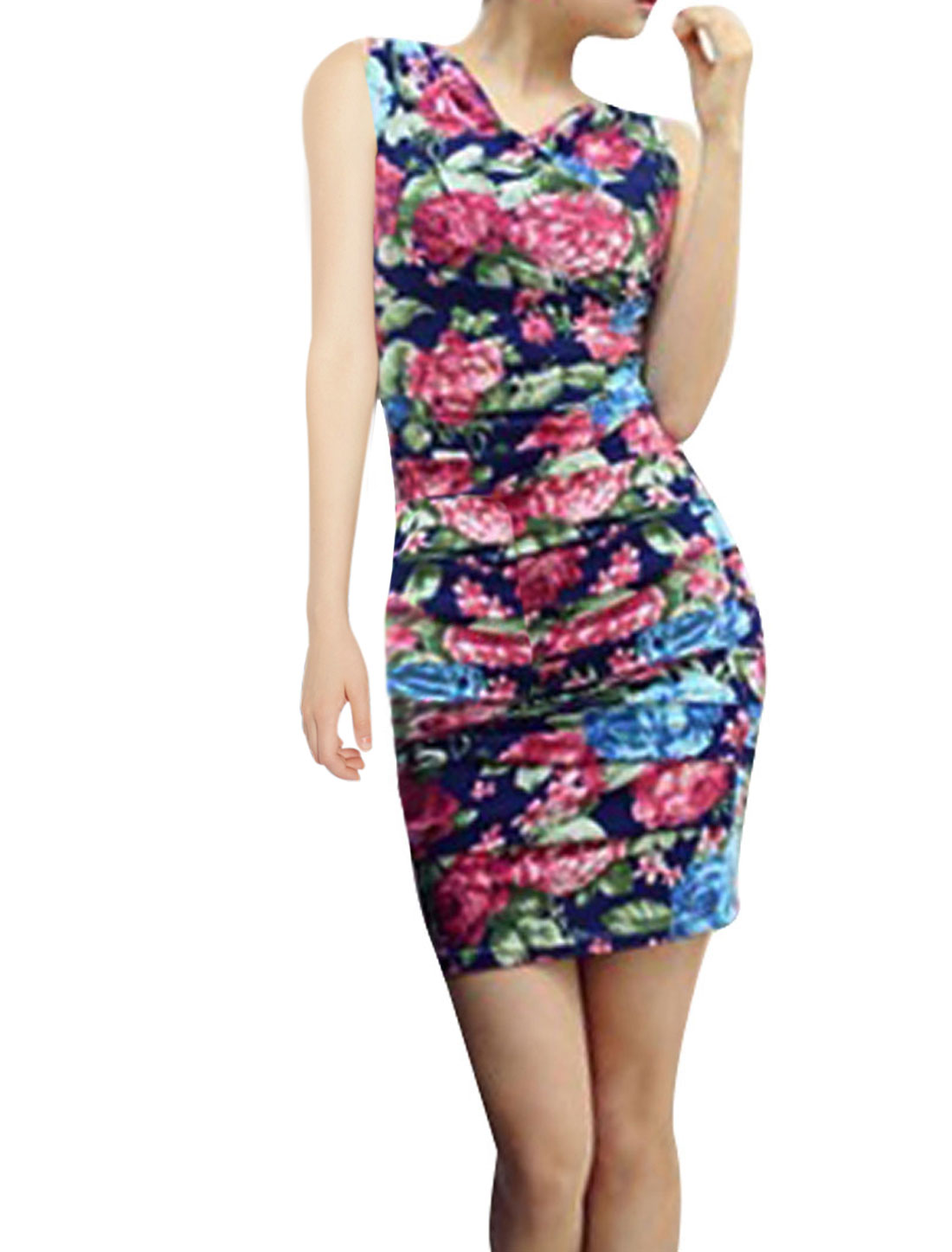 Lady Sleeveless Zipper Front Floral Prints Multicolor Mini Dress XS