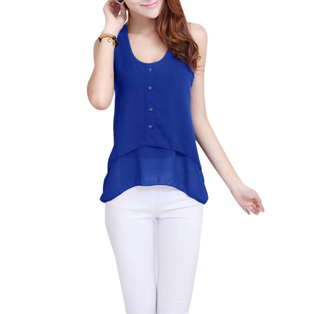 Lady Sleeveless Button Up Front Chiffon Royal Blue Tank Shirt XS