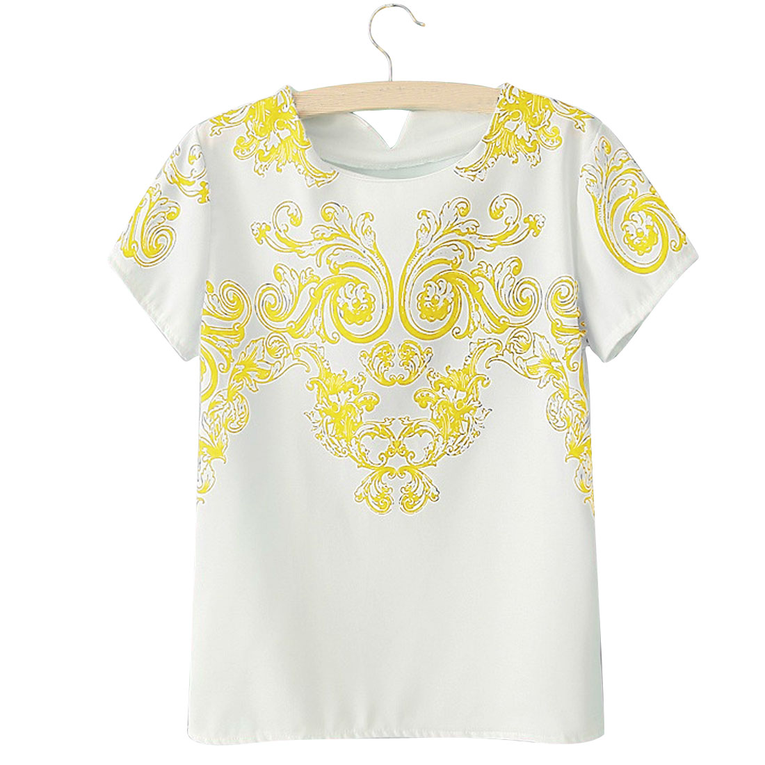 Yellow Round Neck Short Sleeves Floral Prints Casual Women S Shirt
