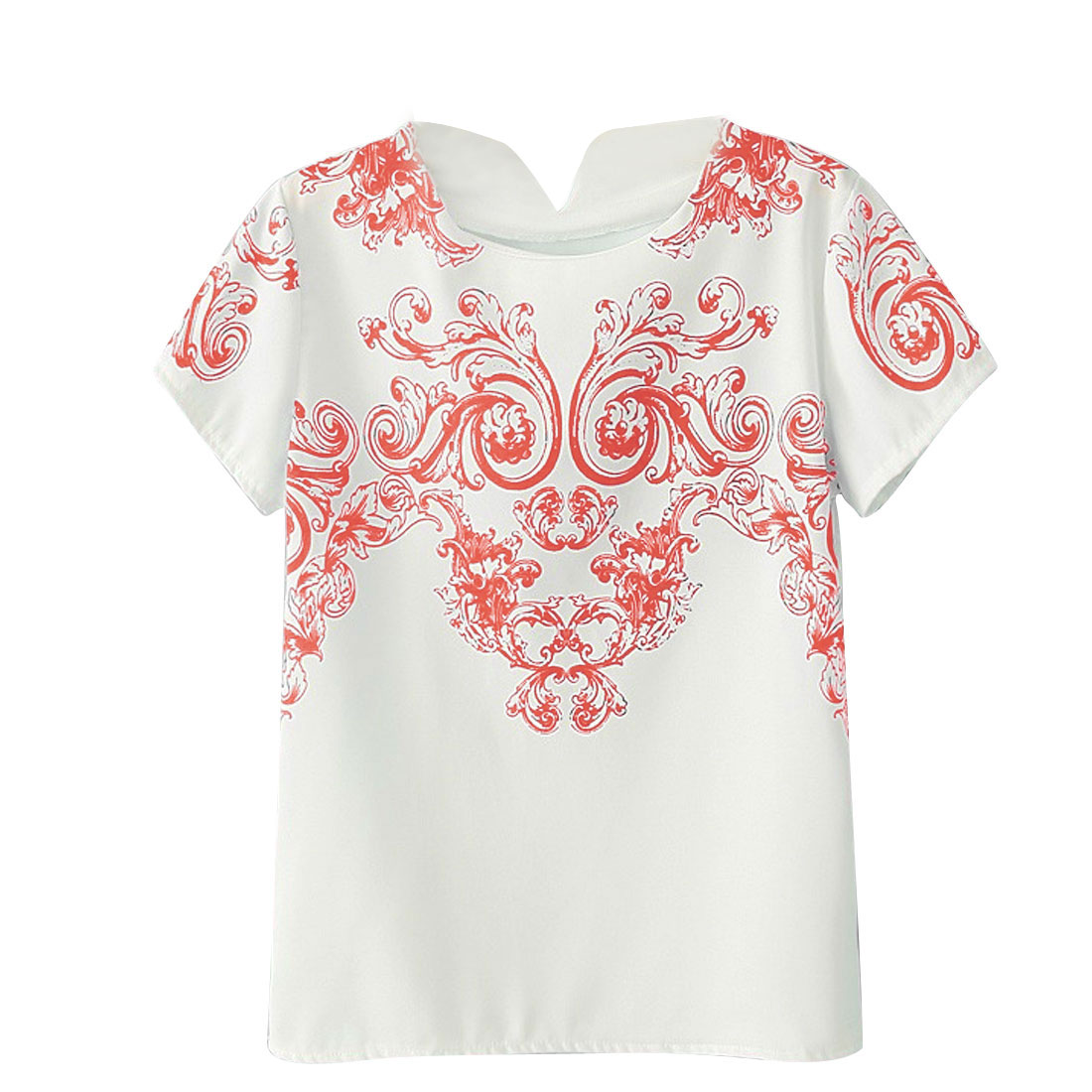Short Sleeves Floral Prints Round Neck Red S Women Casual Shirt