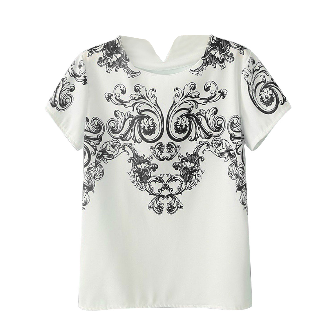 Women Round Neck Short Sleeves Floral Prints Casual Shirt Black S