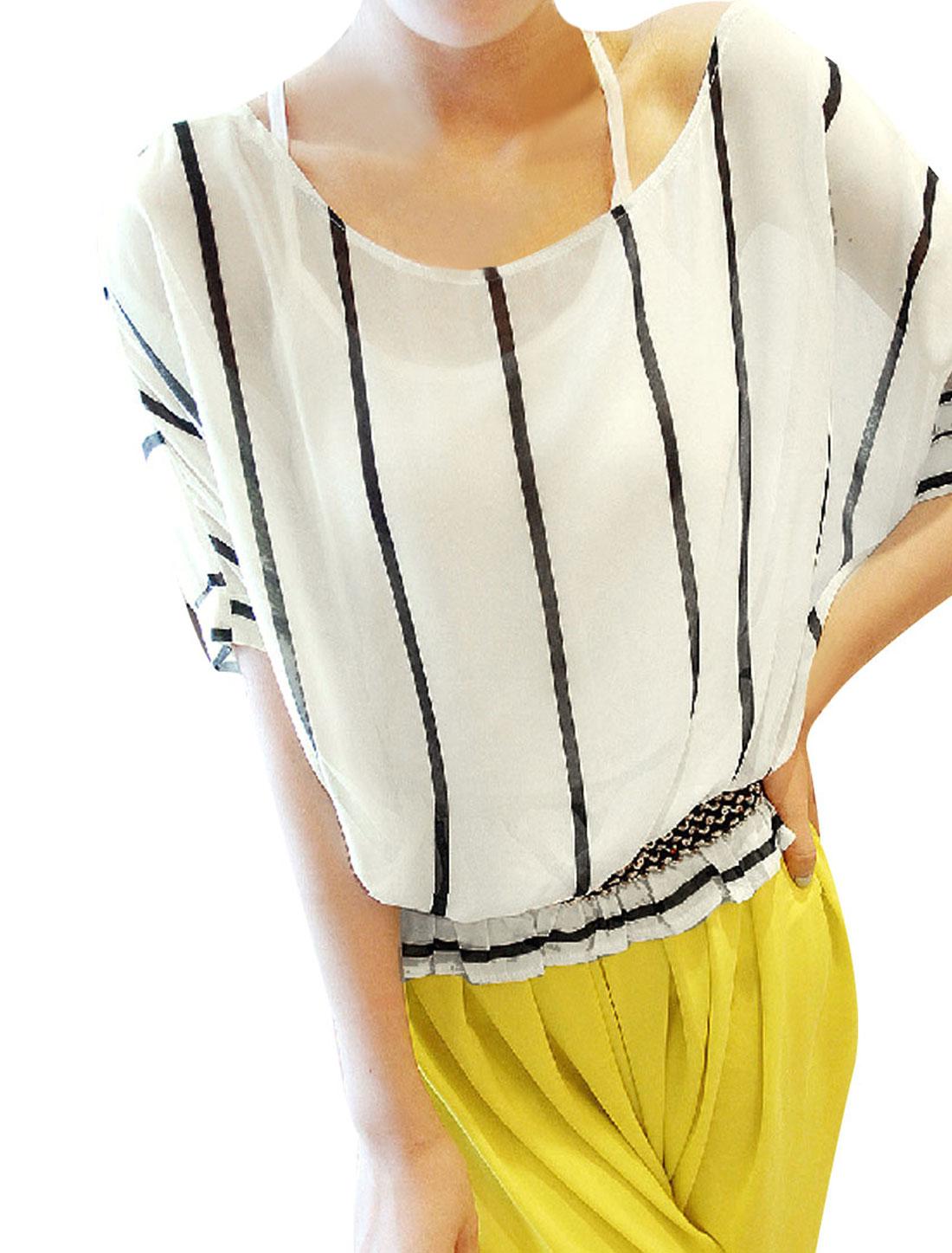 Ladies White Batwing Sleeves Stripes Prints Chiffon Blouse w Tank Tops XS