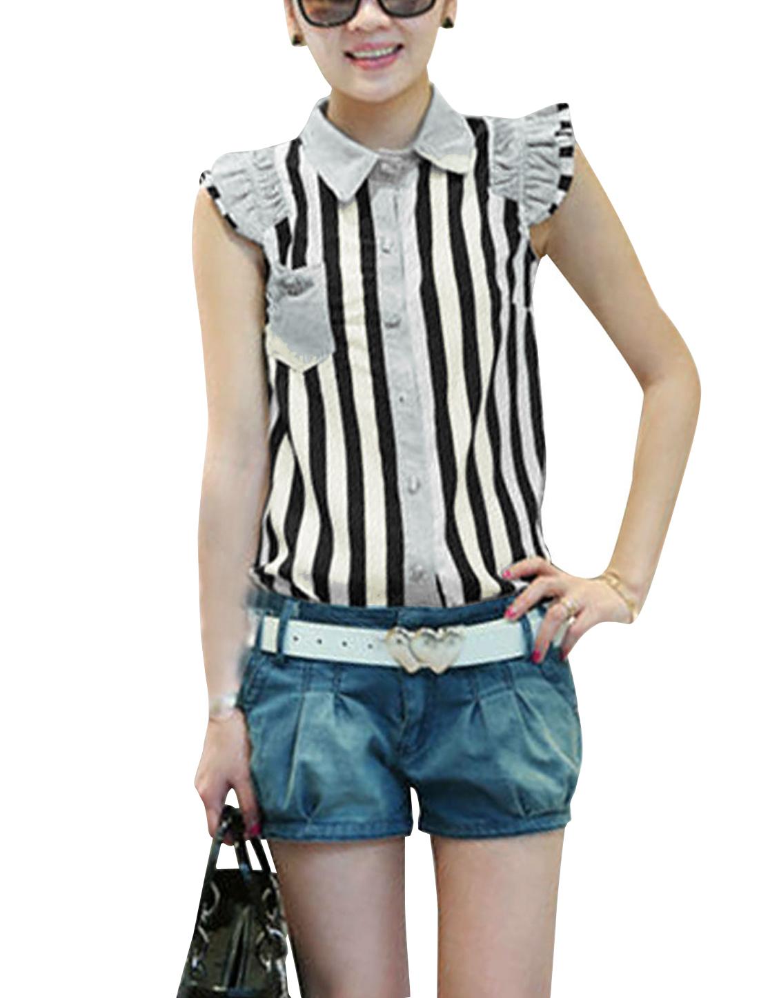 Ladies Black White Cap Sleeves Stripes Prints Leisure Button Down Shirt S