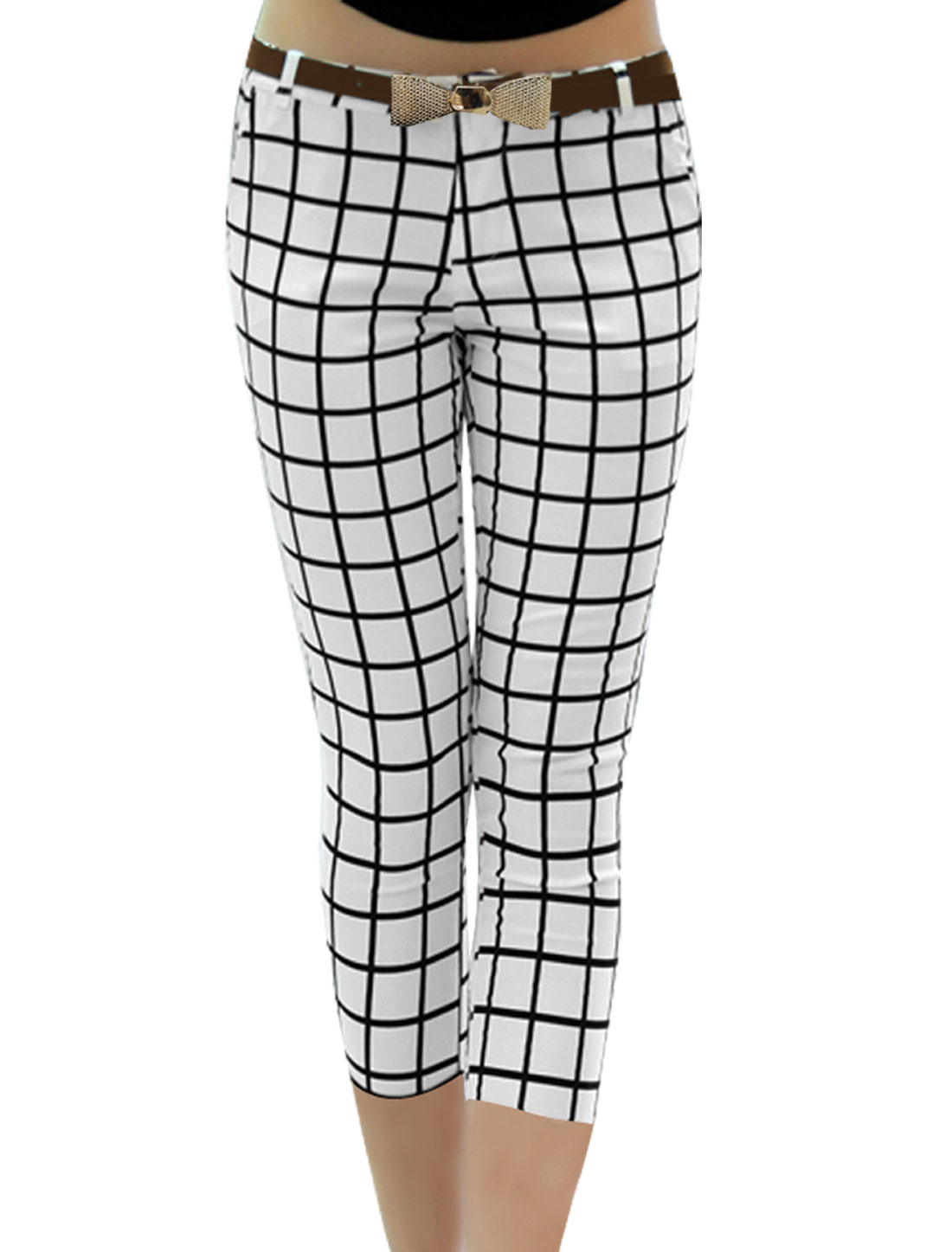Lady Fashion Belt Loop Waist Stretchy Plaids Prints White Black Pants XS