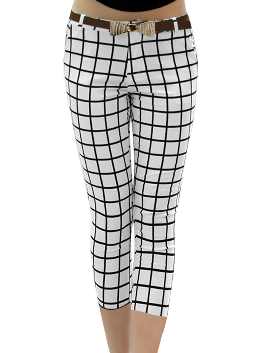 Lady Fashion Belt Loop Waist Stretchy Plaids Prints White Black Pants XS