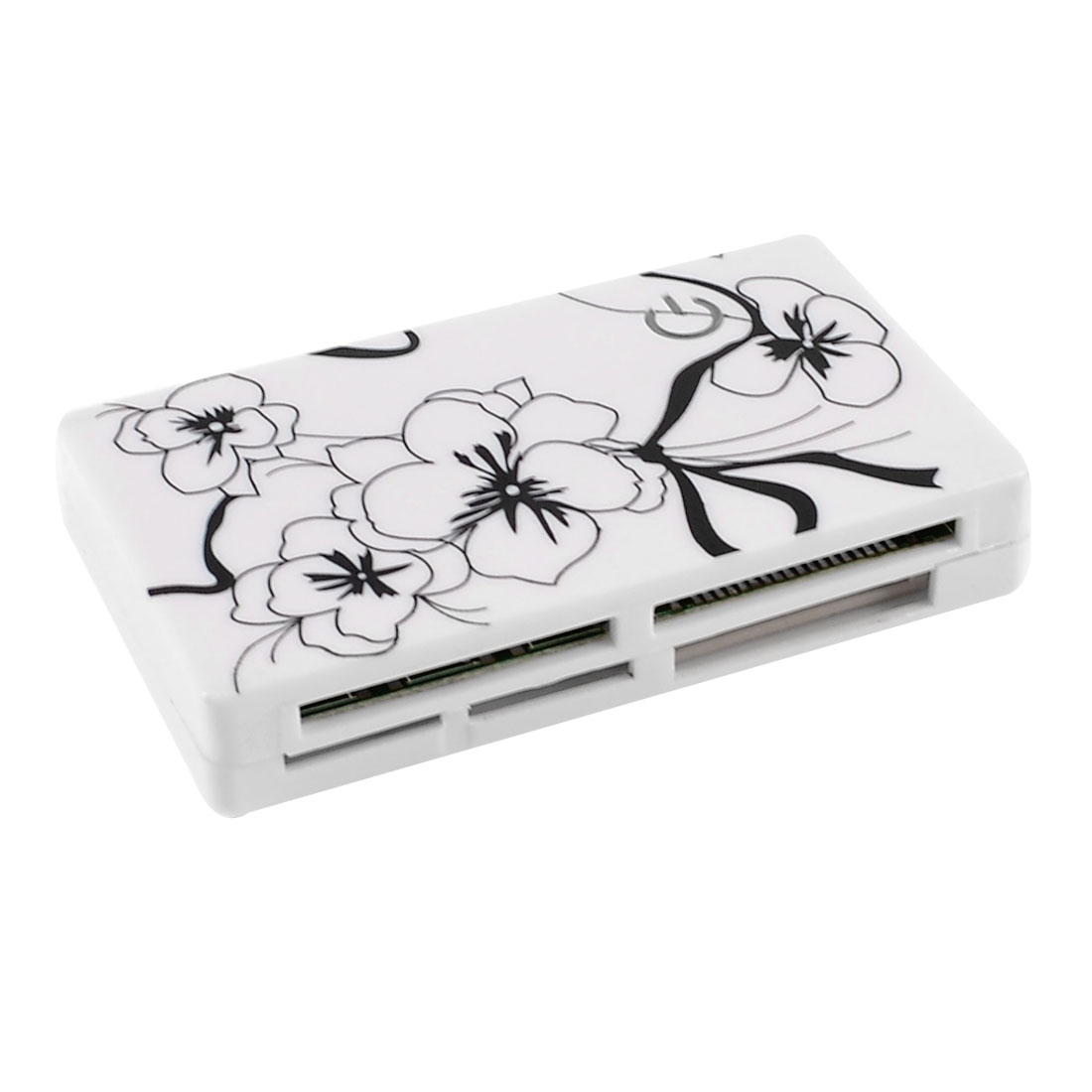 Black Flower Pattern White Plastic Housing SD TF MS M2 Multi Slot Card Reader