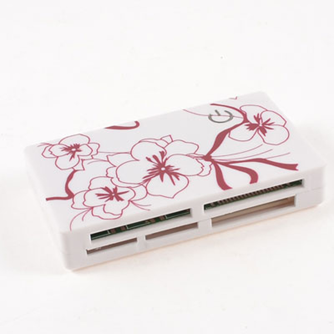 Red Flower Pattern White Plastic Shell SD TF MS M2 Travel Multi Slot Card Reader