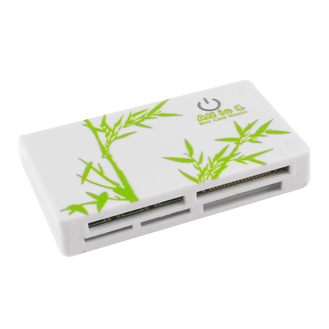 Green Bamboo Prints White Plastic Shell SD TF MS M2 Multi Slot Mini Card Reader