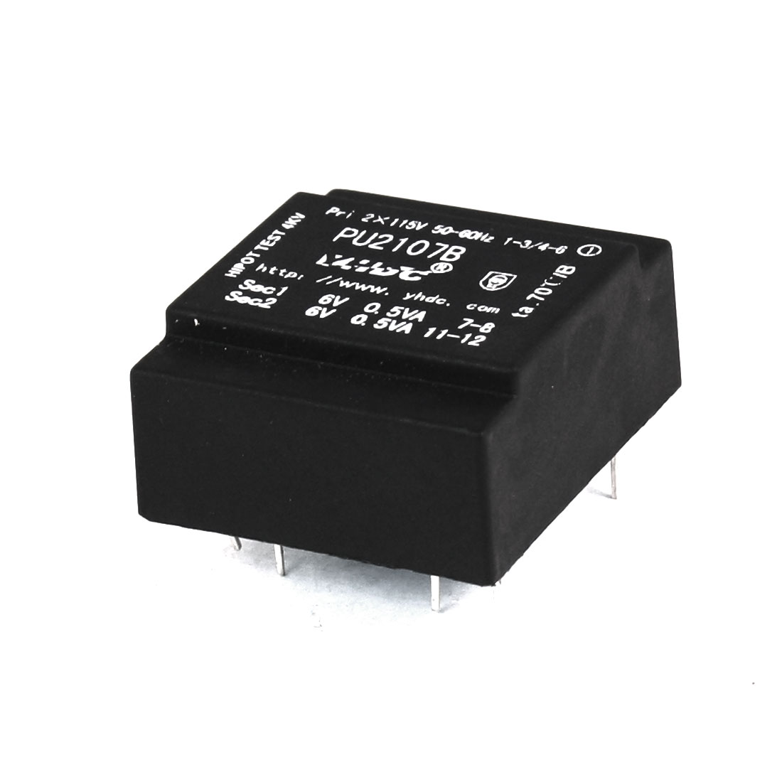 0.5VA 50/60 Hz Double Way 115V Input 6V Output 8 Pins Encapsulated Transformer