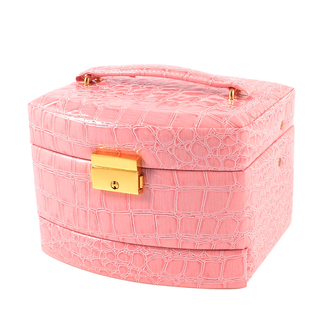 Pale Pink Crocodile Print Faux Leather Cosmetic Holder Jewelry Case for Ladies