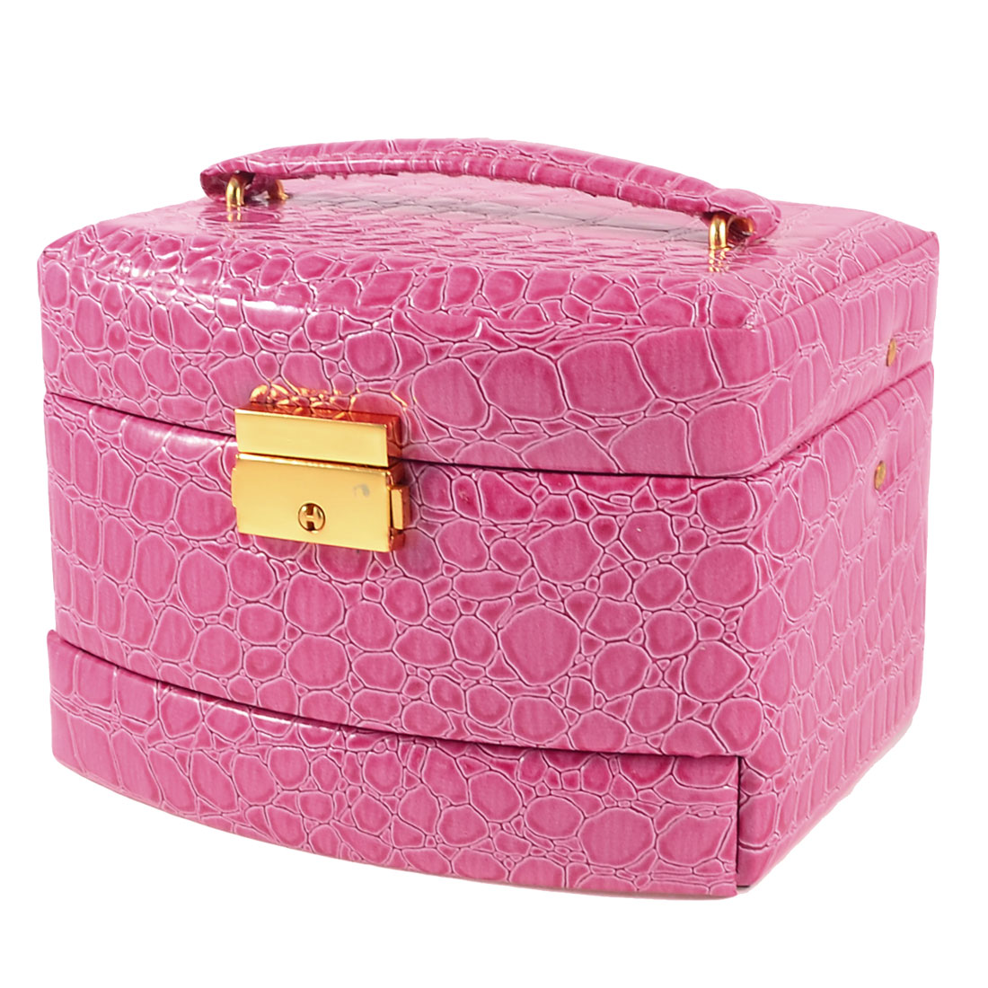 Pink Crocodile Printed Faux Leather Automatic Jewelry Box Case for Lady