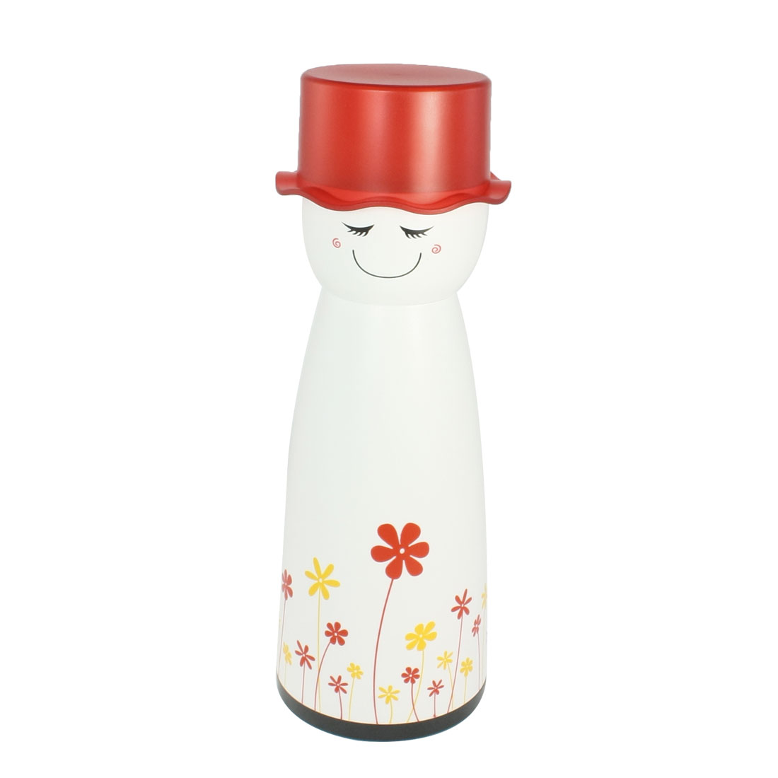Snowman Shaped Red Yellow Flowers Pattern Chopcticks Case Holder Canister