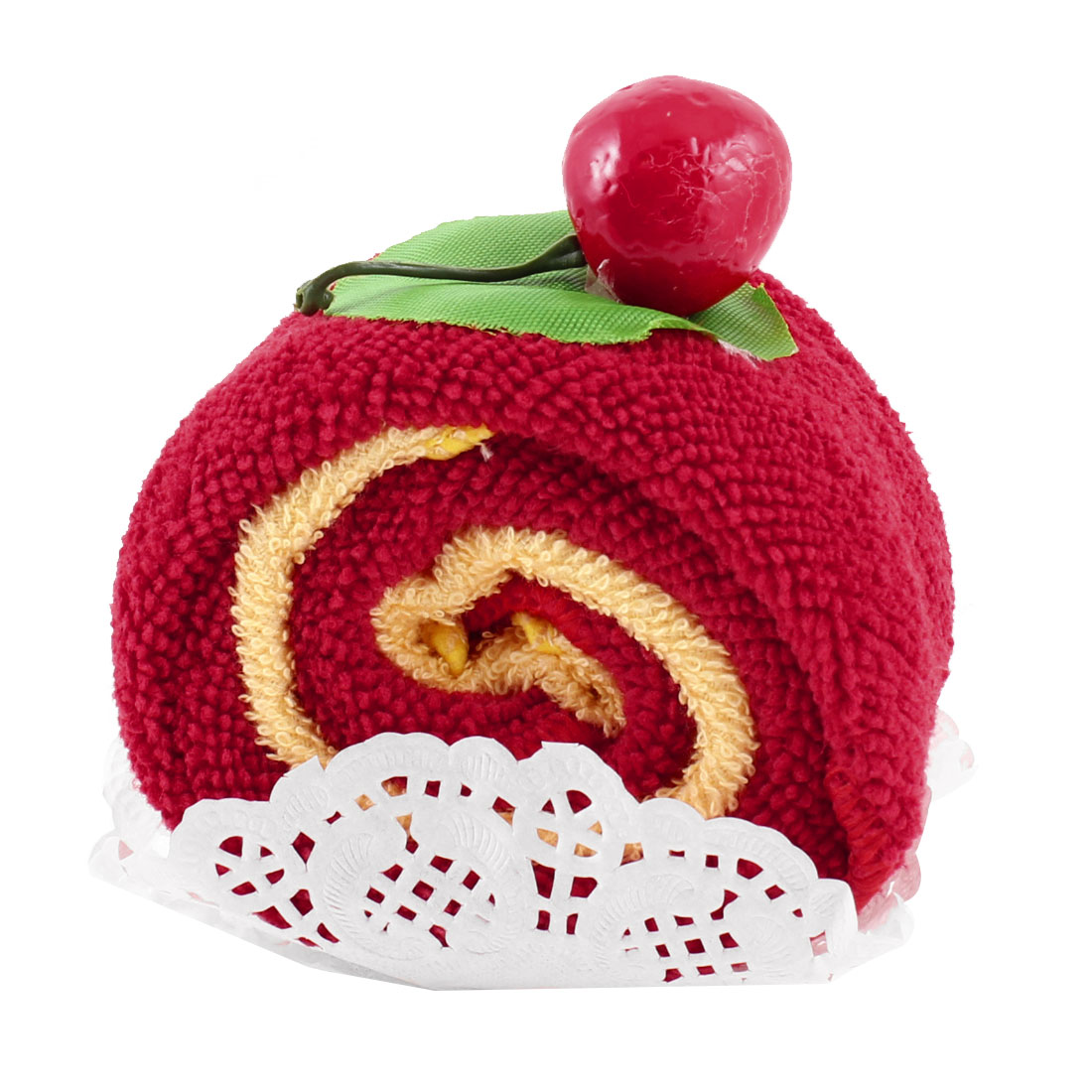 Cherry Decor Cake Shaped Showering Bath Towel Red Yellow