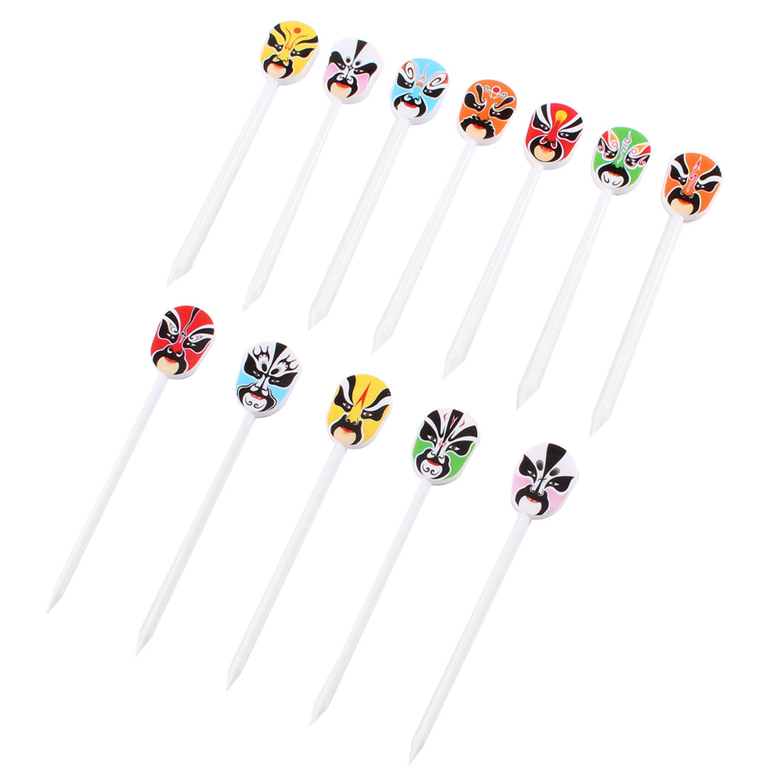 12 Pcs Colorful Plastic Operas Facial Design Food Fruit Fork Picks for Party