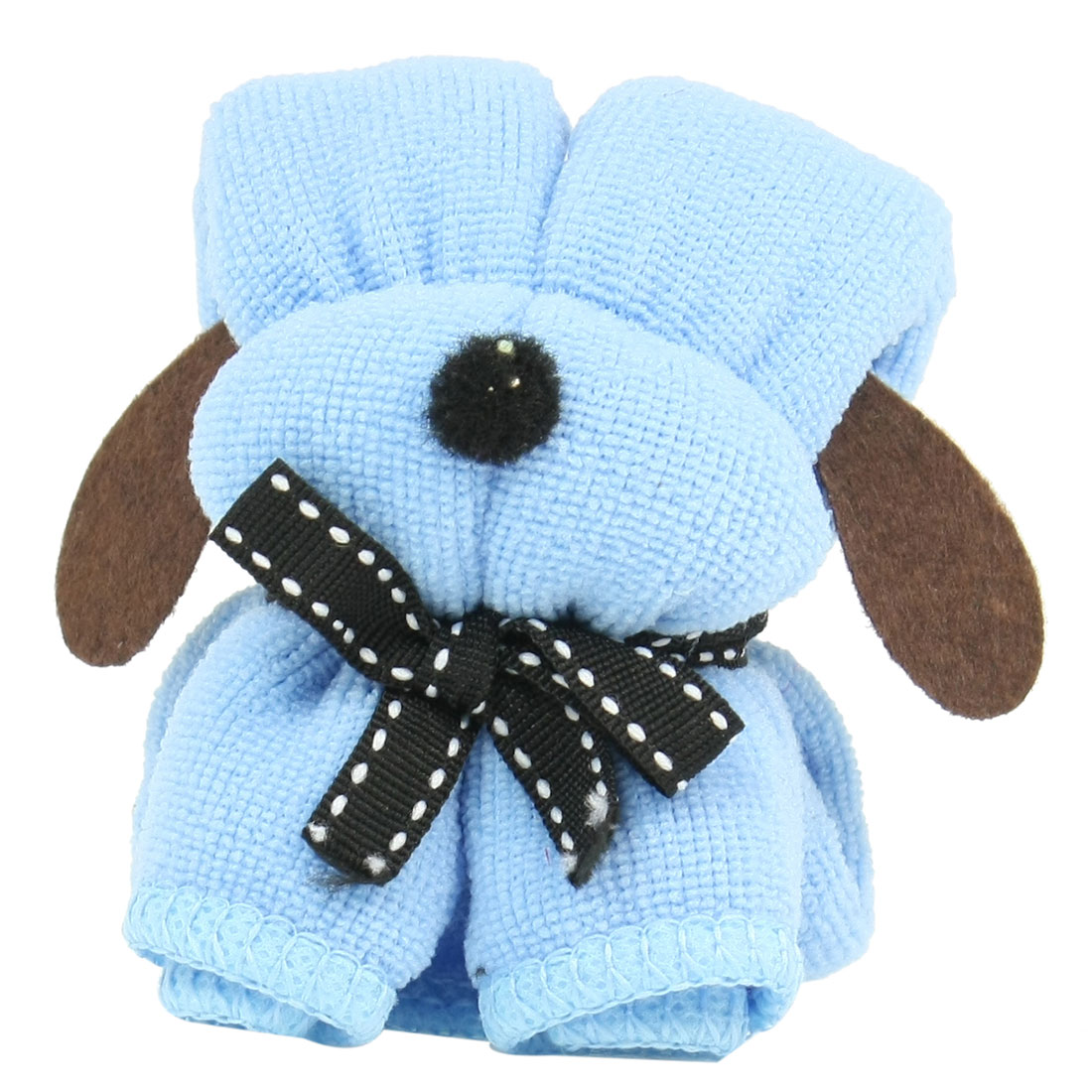 Birthday Party Ornament Light Blue Black Puppy Pet Dog Shaped Terry Towel