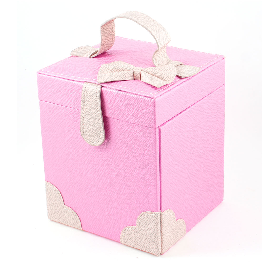 Pink Faux Leater Bowtie Decor Magnetic Button Jewelry Storage Boxes
