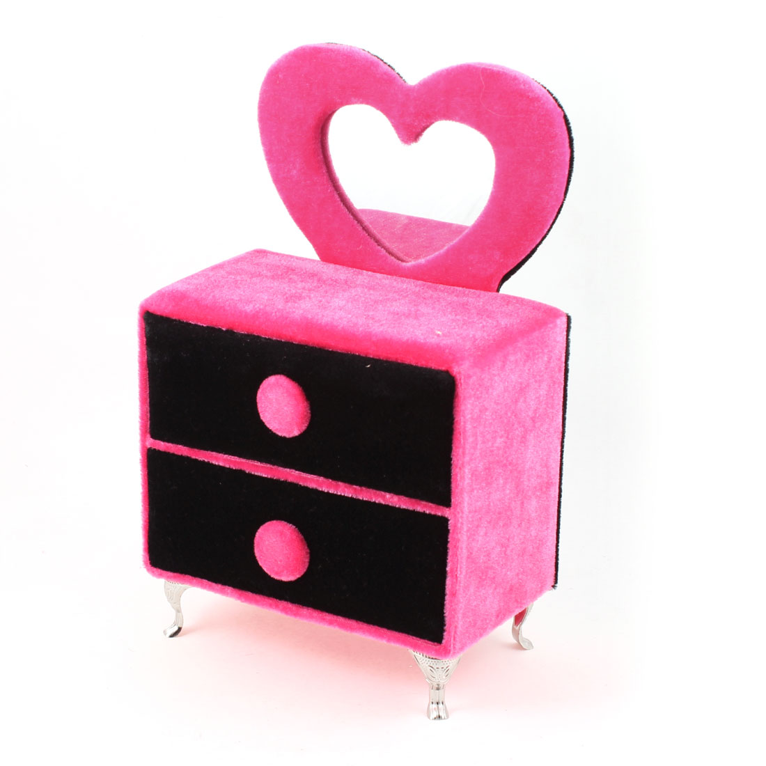 "Fuchsia Black Heart Shape Mirror Jewelry Rings Necklace Storage Boxes 9.4"" Height"