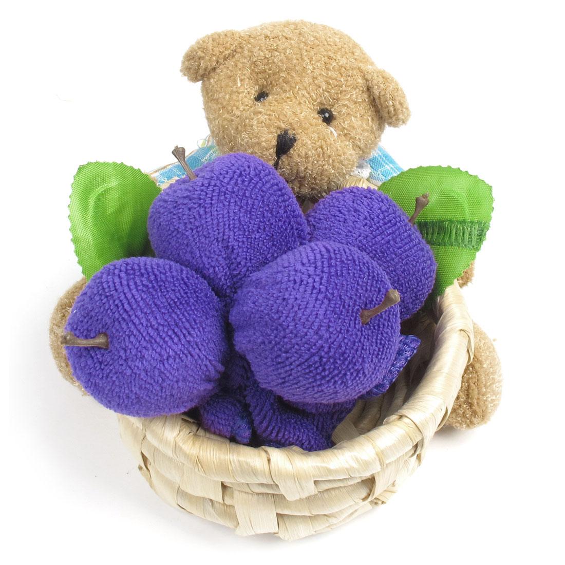 Brown Purple Towel Terry Apple Plush Nylon Bear Ratton Basket Craft