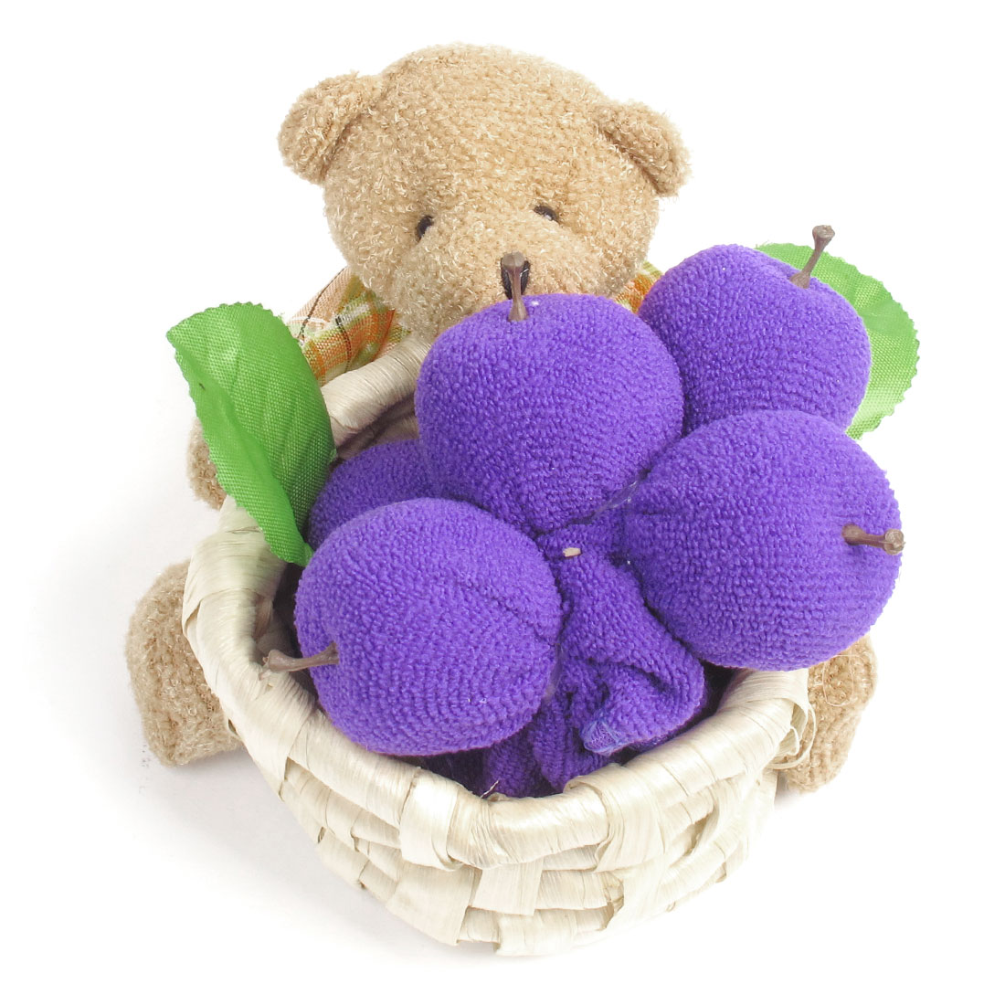 Purple Terry Apple Plaid Print Bear Ratton Basket Towel Craft