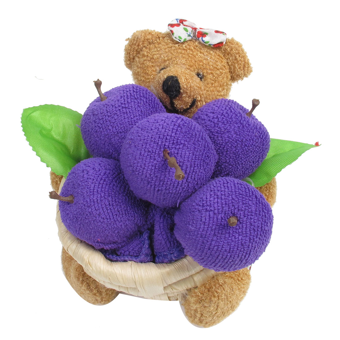 Brown Purple Red Flower Pattern Plush Bear Terry Apple Basket Towel Craft