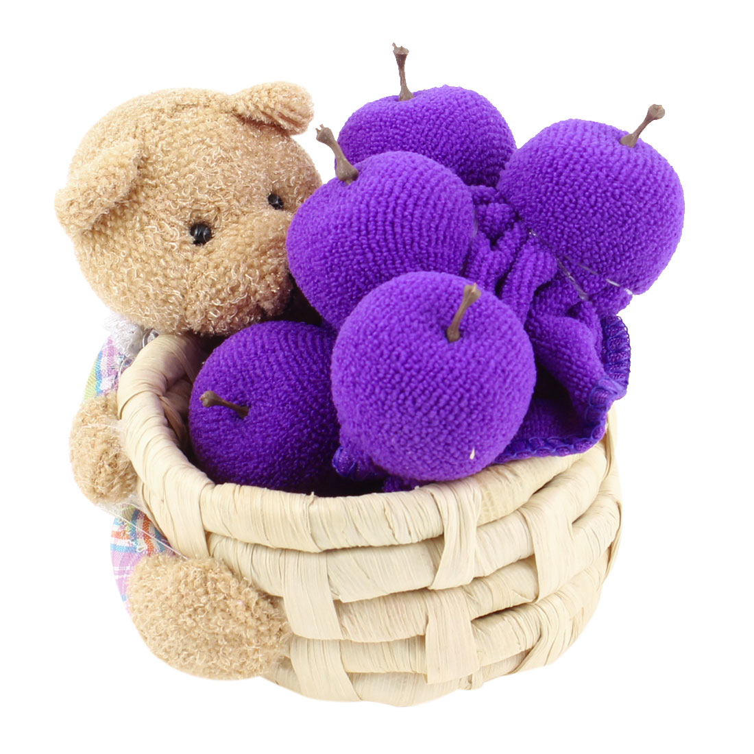 Purple Blueberry Design Wedding Party Gift Novelty Towel w Bear Basket