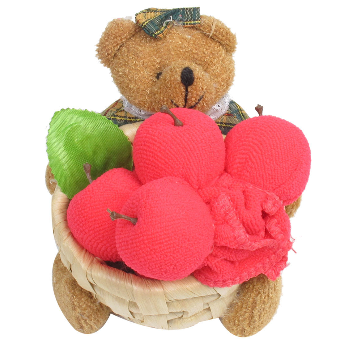 Dark Green Brown Pink Nylon Plush Terry Bear Apple Basket Towel Craft