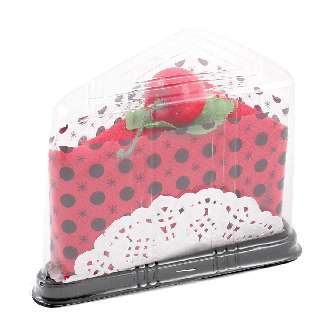 "Home Cherry Detail Cake Shaped 12"" x 12"" Square Red Towel"