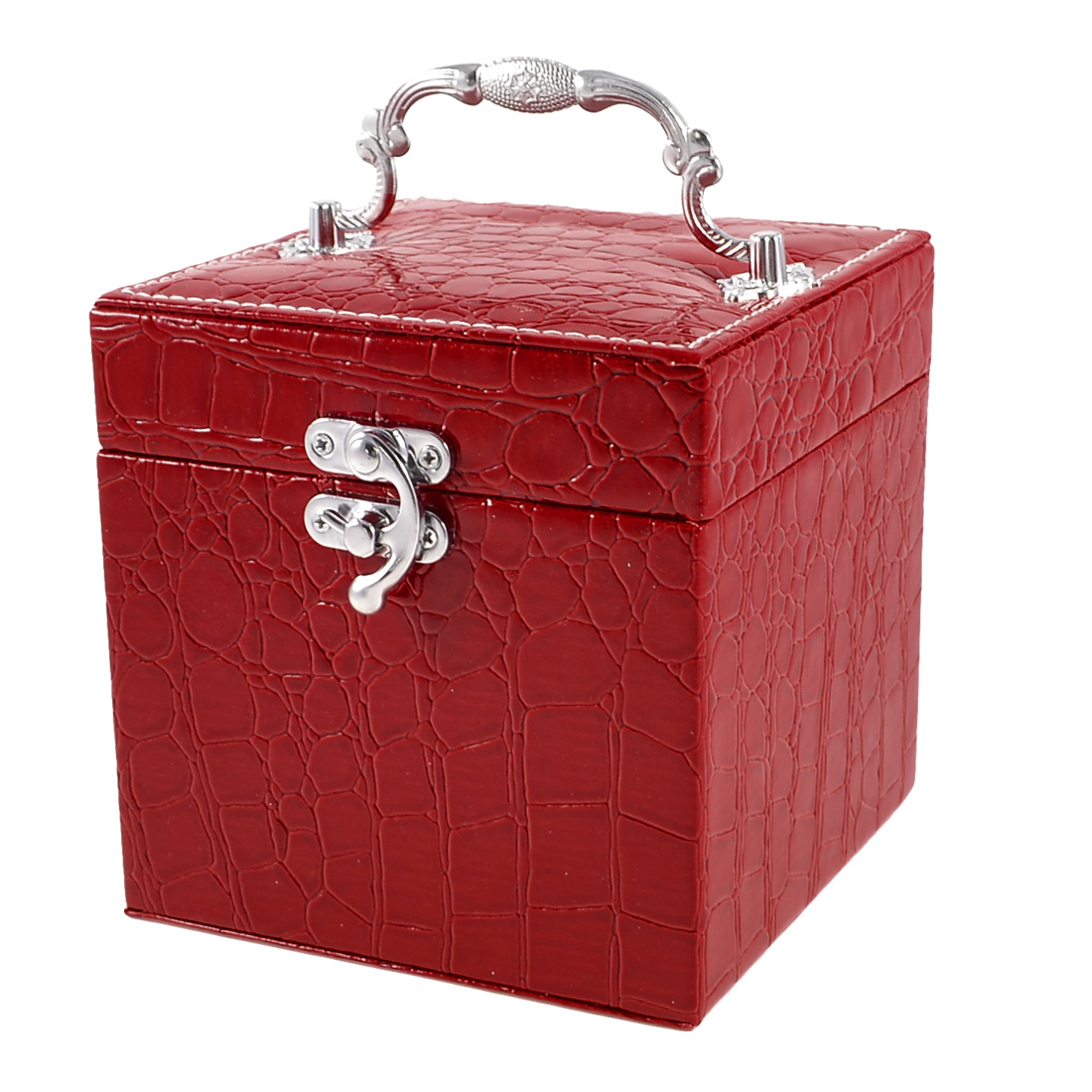 Portable Crocodile Printed Three Layers Jewelry Box Dark Red for Woman
